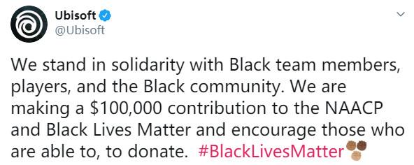 育碧和SE各捐款10万和25万美元 打击种族主义