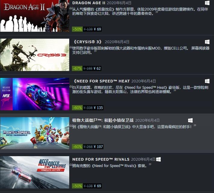 EA大量游戏今日重回Steam发售 降价促销