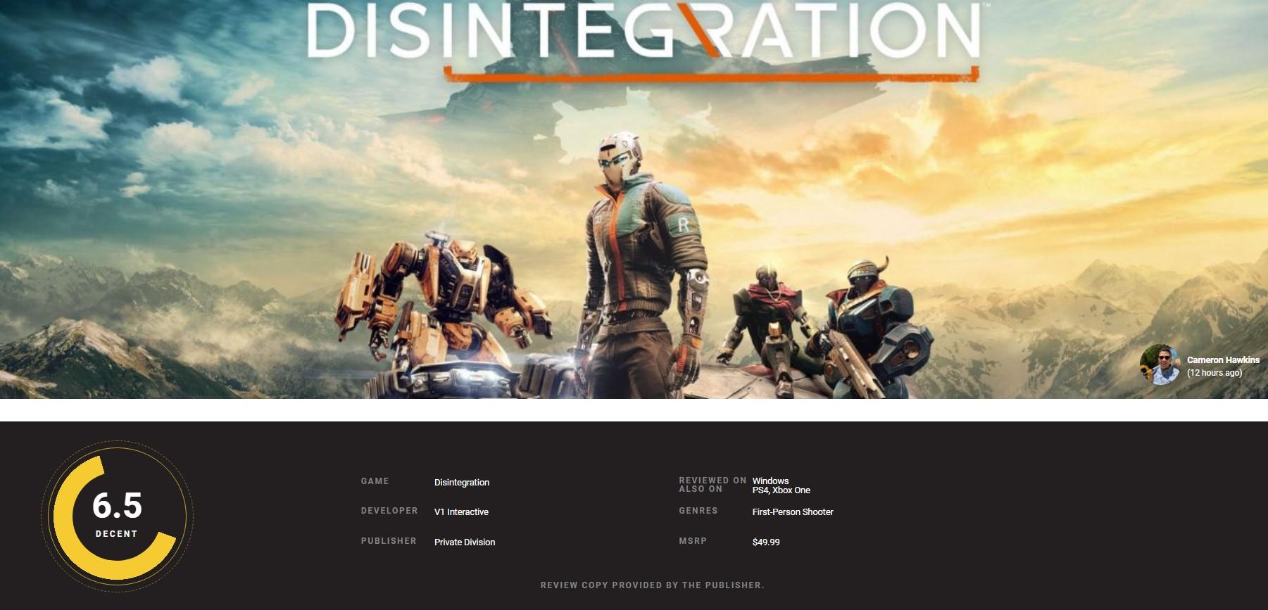 光环创始人打造科幻机甲FPS《崩解》IGN 6分:创意新颖 深度不够