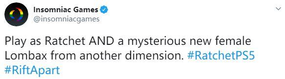 官方确认《瑞奇与叮当:分离》中加入可玩女性角色