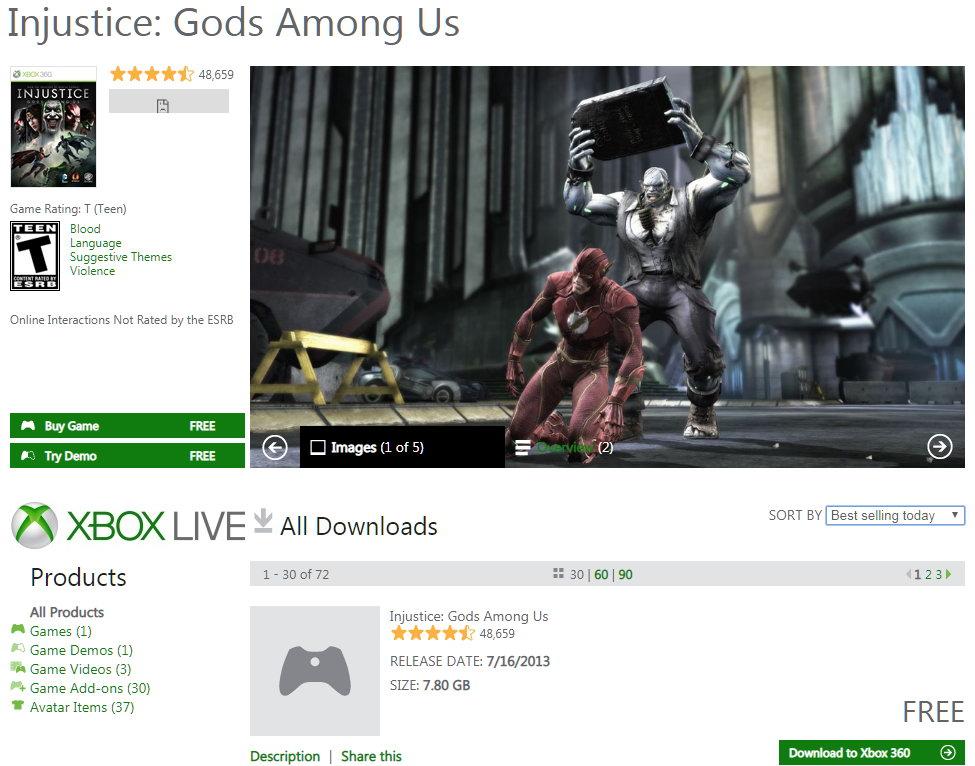 美服X360版《不义联盟:人间之神》及部分DLC免费