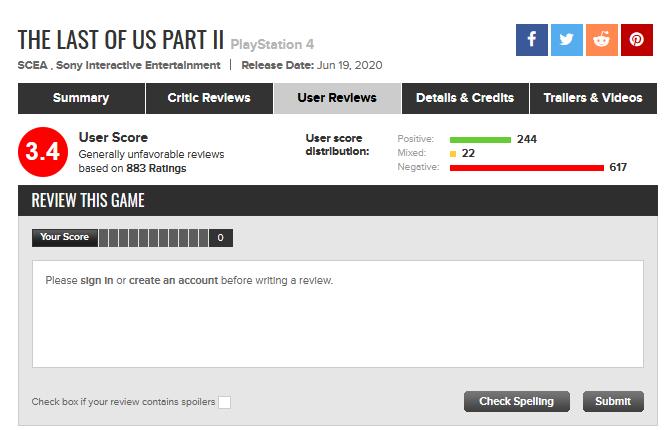 《最后的生还者2》M站用户评分解禁:总分3.4分
