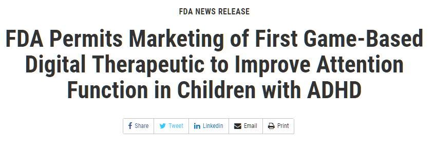 用电子游戏治疗儿童多动症 已获美国监管许可