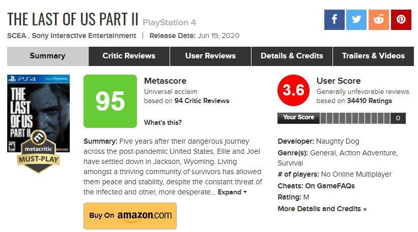 外媒:《最后的生还者2》证明MC用户评分已无意义