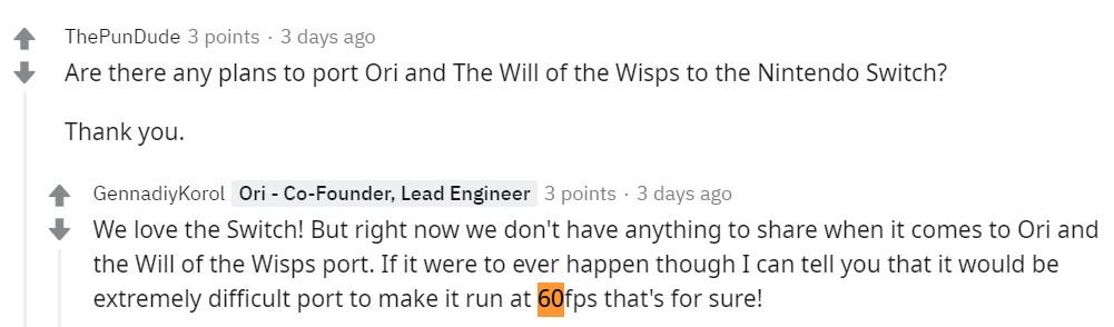 开发商谈《奥日与萤火意志》移植Switch:实现60帧极其困难