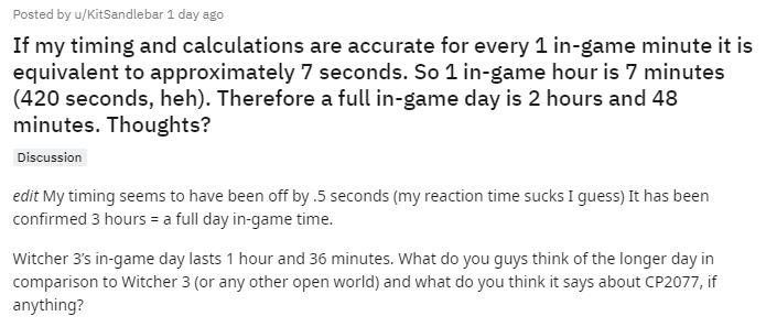 《2077》游戏内一天时长为3小时 将近是《巫师3》2倍