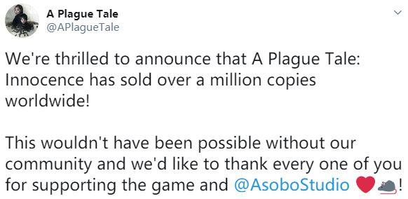 《瘟疫传说:无罪》全球销量破百万 官方感谢玩