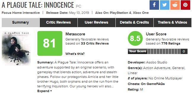 《瘟疫传说:无罪》全球销量破百万 官方感谢玩家支持