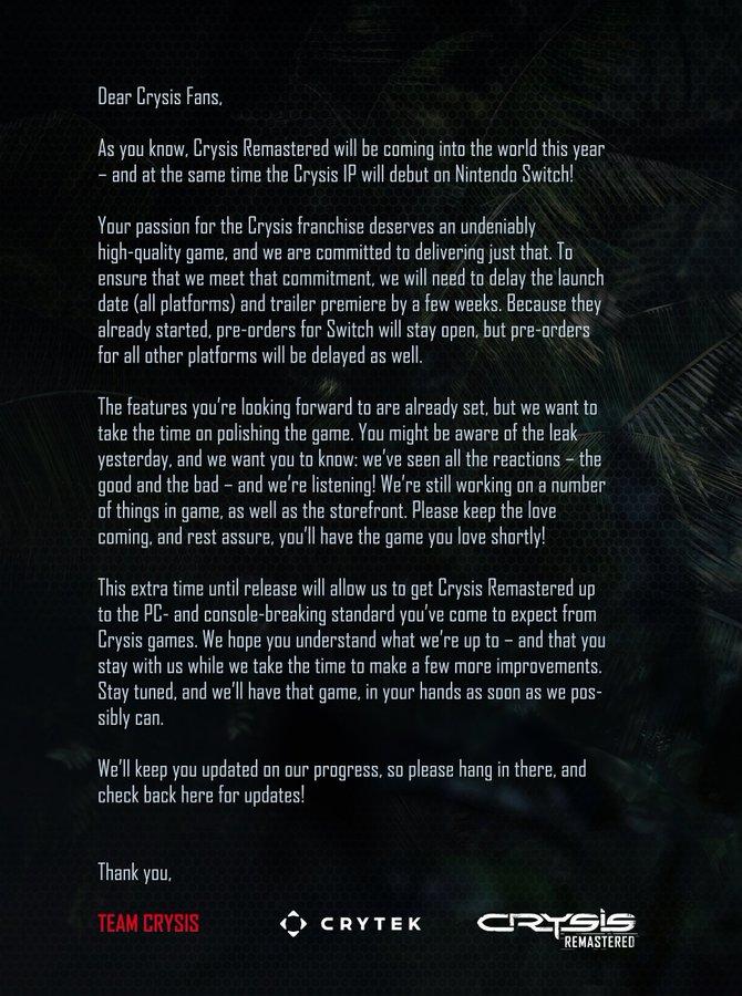 Crytek将推迟发行《孤岛危机:复刻版》承诺改善画面