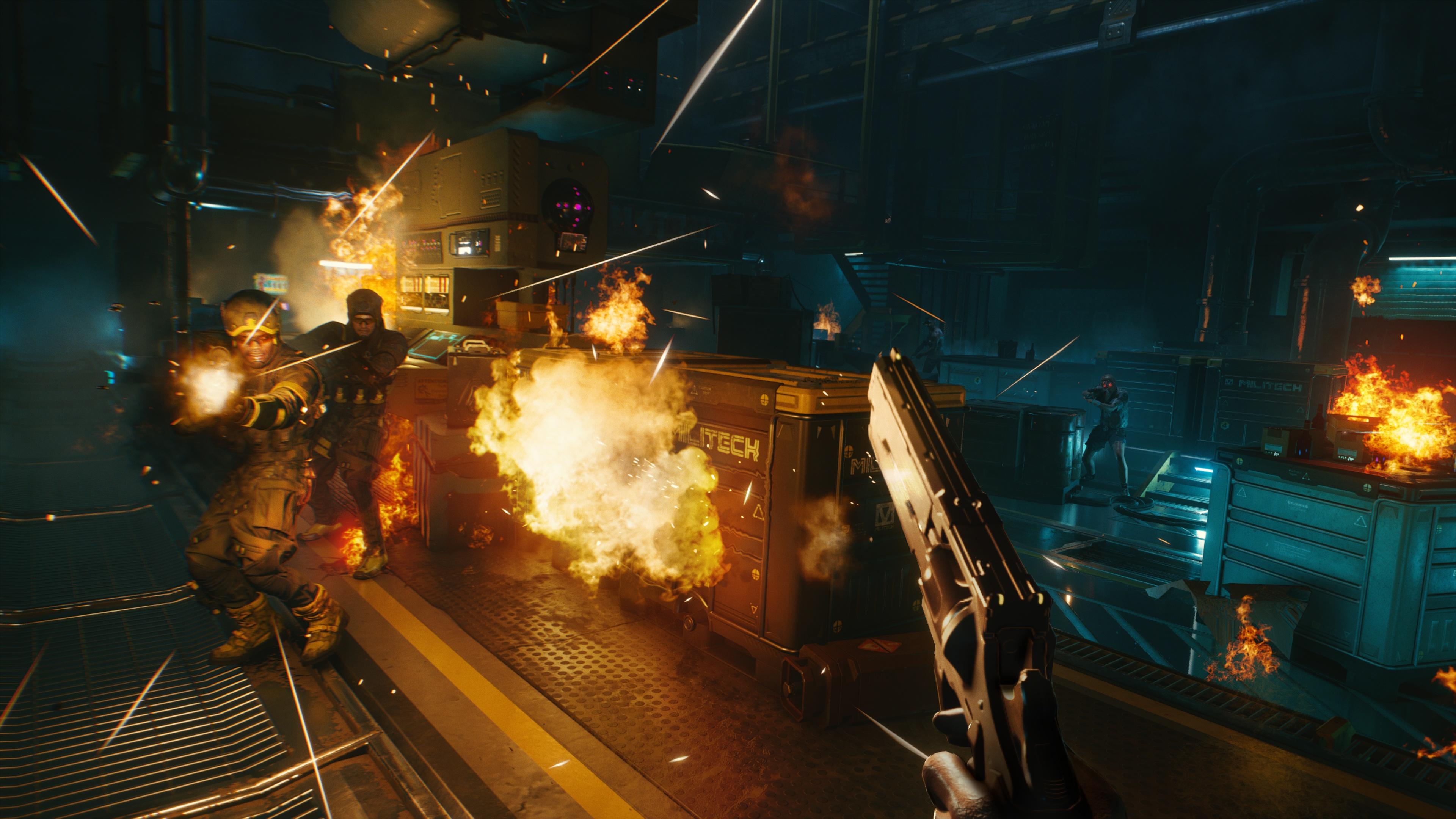 《赛博朋克2077》两张新截图发布 展示反射和第一人称射击