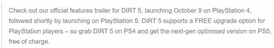 开辟商:《尘土5》将支撑PS4版收费进级至PS5版