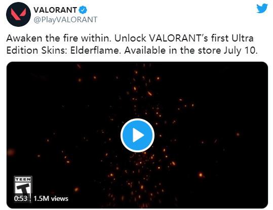 《Valorant》Elderflame皮肤7月10日上线 售价90美元