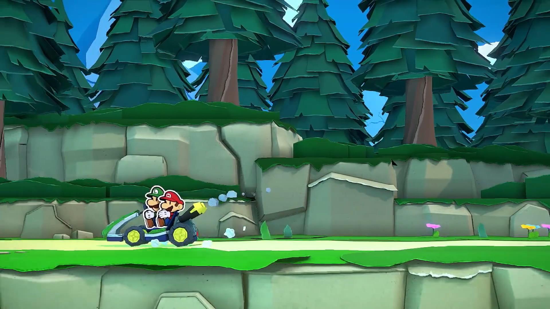 《纸片马力欧:折纸国王》开场试玩 兄弟二人开赛车