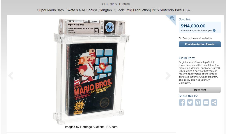 史上最贵游戏:《超级马里奥兄弟》未开封版11.4万美元成交