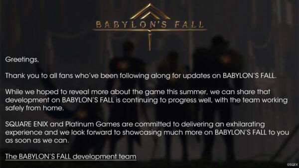 白金:《巴比伦的陨落》开发顺利 希望尽早公布新消息