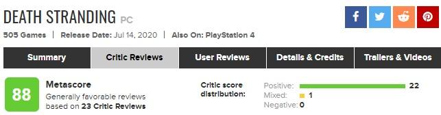 《死亡搁浅》PC版好评如潮 M站均分88
