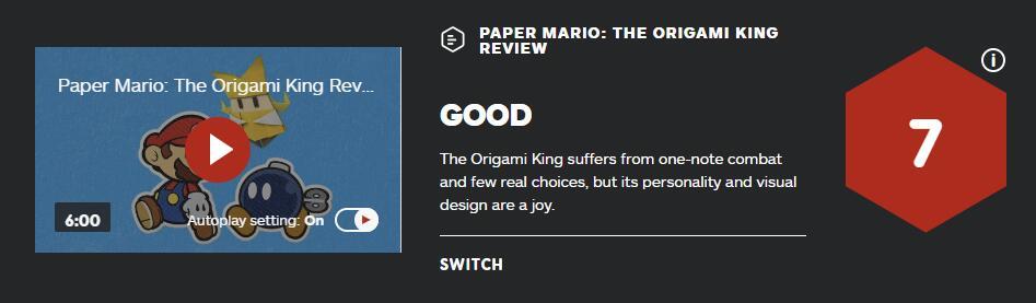 《纸片马力欧:折纸国王》MC均分81 IGN给出7分