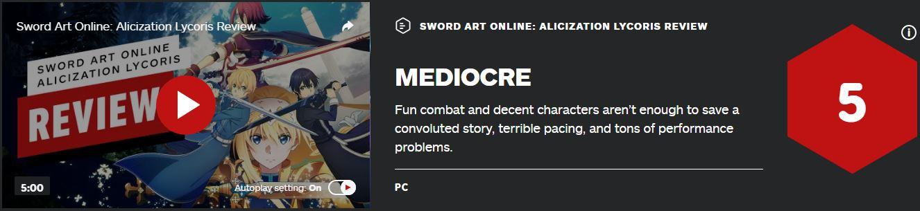 《刀剑神域:彼岸游境》IGN 5分:令人失望的缝合产物