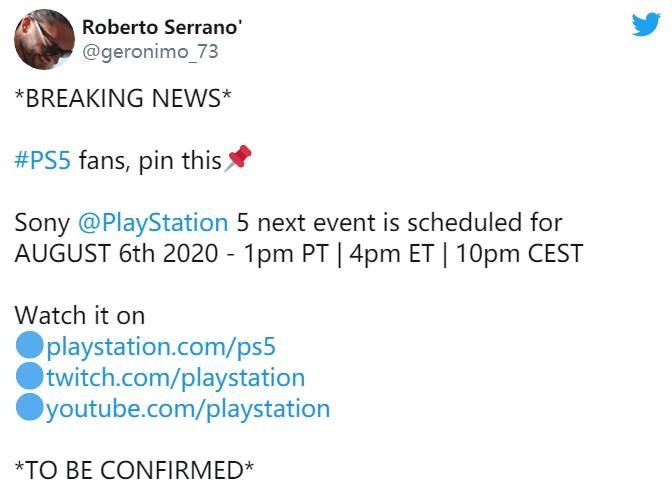 索尼下一个PS5发布会或于8月6日举办