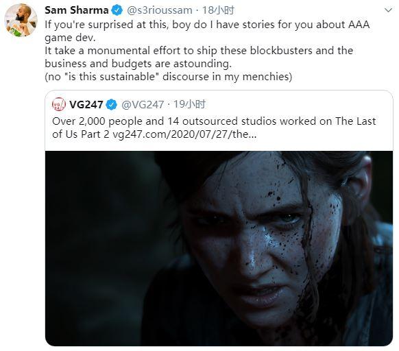 《最后生还者2》超两千人参与开发 3A制作人表示这挺寻常