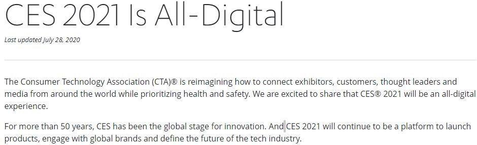新一届CES国际消费电子展改为线上 2021年1月6~9日举行