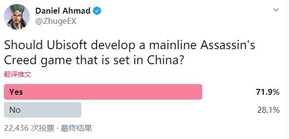 超70%的国外玩家期待中国背景的《刺客信条》正传作品