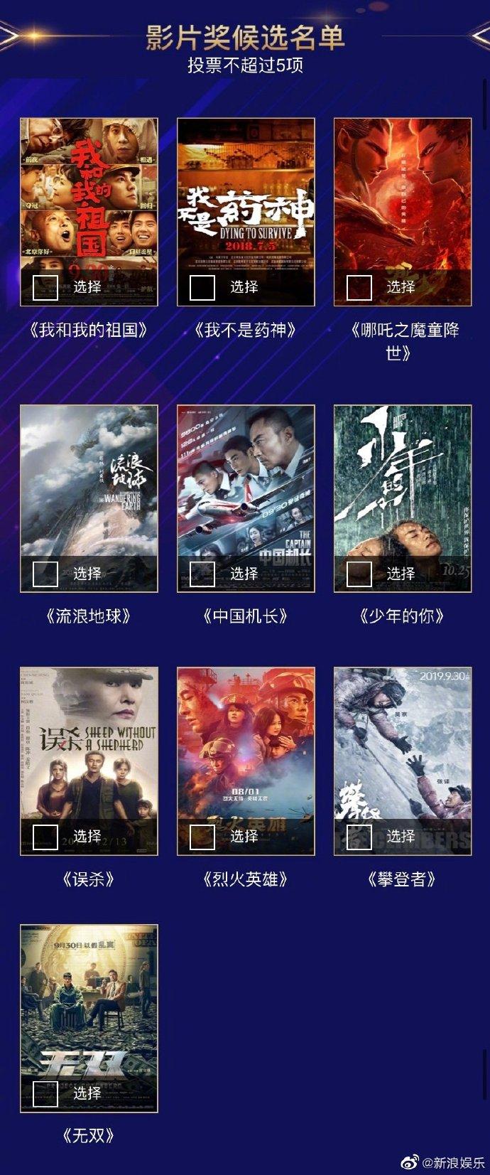 第35届大众电影百花奖启动投票 药神、哪吒、流浪地球等参评
