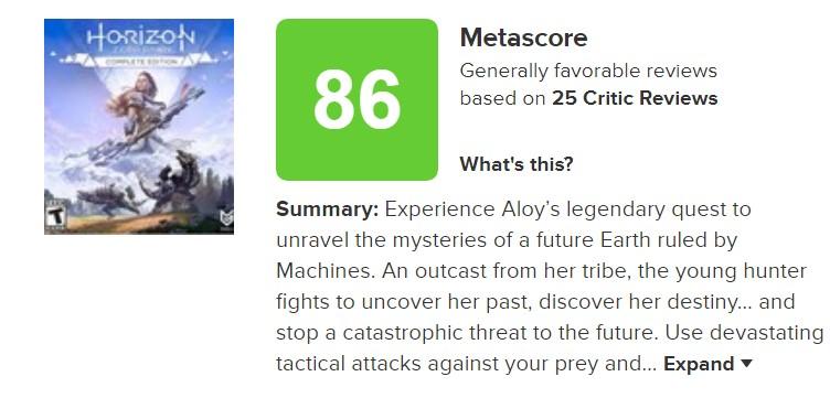 《地平线:黎明时分》PC版评分解禁 Gamespot 9分 M站均分86