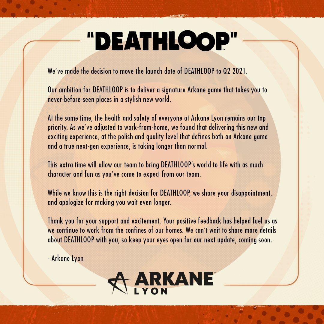 第一人称动作《死亡循环》延期至2021年第二季度发售