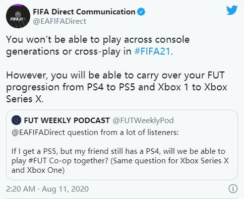 EA确认《FIFA 21》不支持跨平台和跨世代游玩