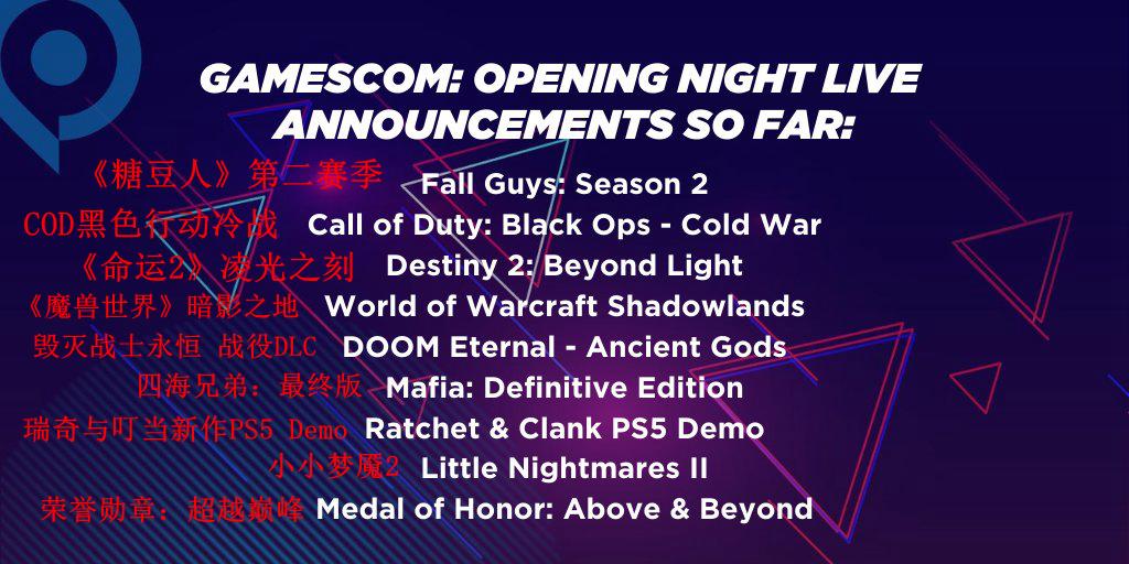 科隆游戏展开幕直播部分厂商公开 微软索尼皆在列