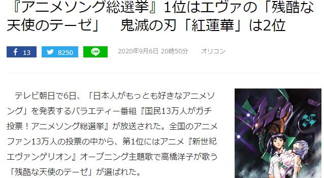 日本《动画主题歌总选举》排名揭晓!名曲林立天使登顶