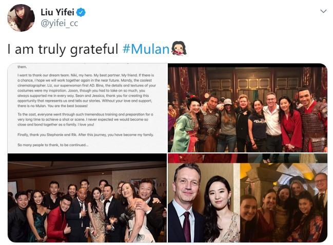 刘亦菲长文感谢参演《花木兰》的这段经历:我圆梦了