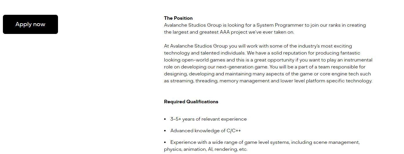 雪崩招募人手 开发工作室有史以来最大的3A游戏