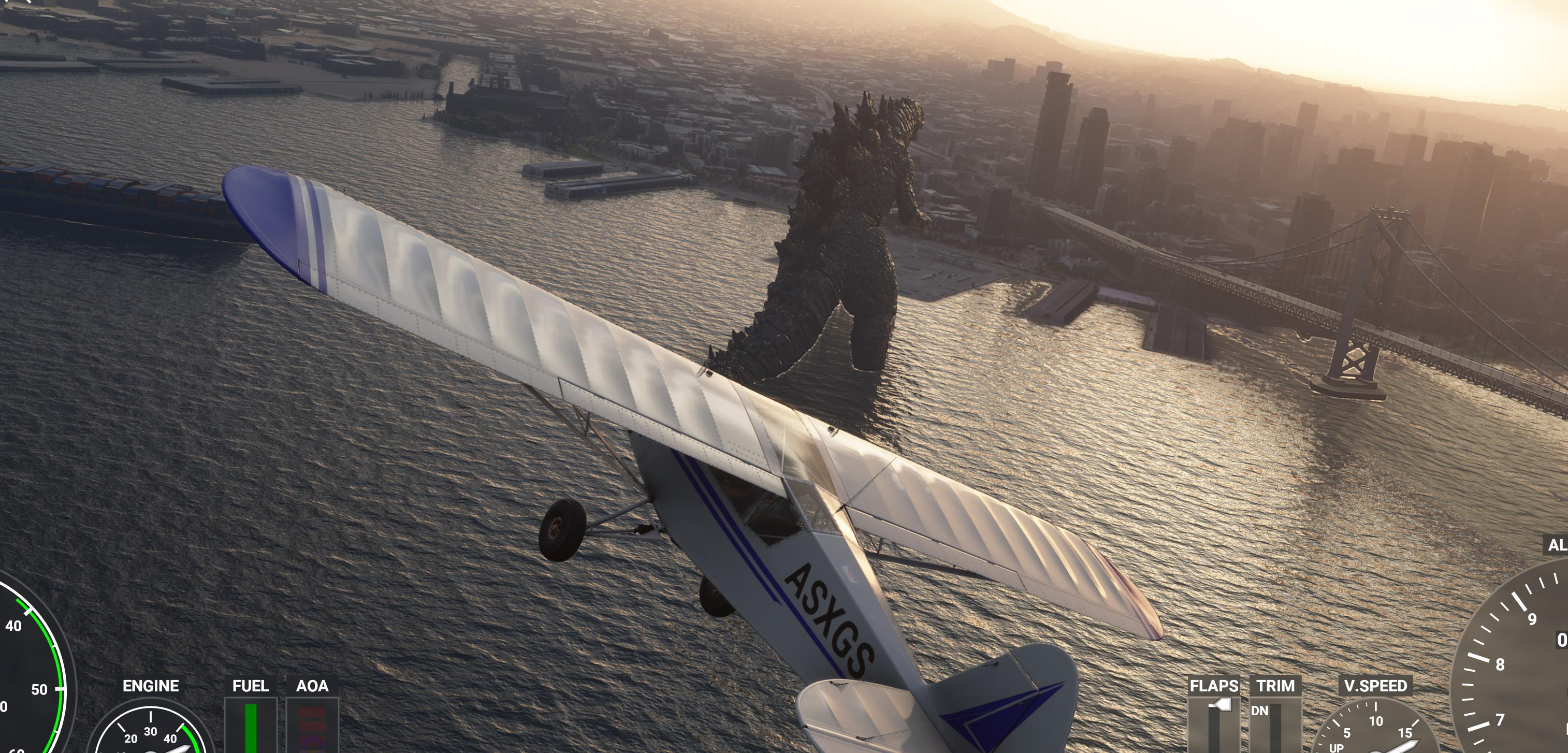 《微软飞行模拟》怪兽Mod发布 哥斯拉登陆旧金山湾