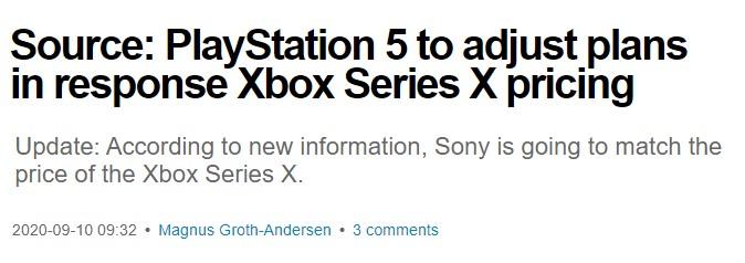 内部消息:索尼大幅降低PS5价格 以499美元回应XSX