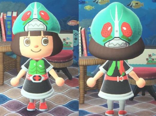 玩家在《动森》中打造全假面骑士造型服饰 像模像样Q版可爱