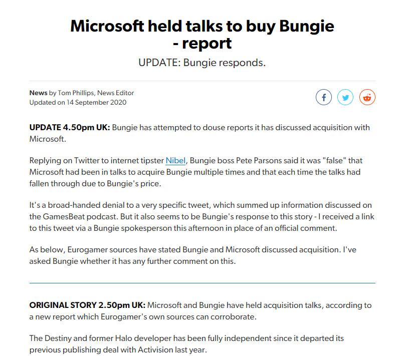 微软要收购Bungie?后者CEO出面回应:假的