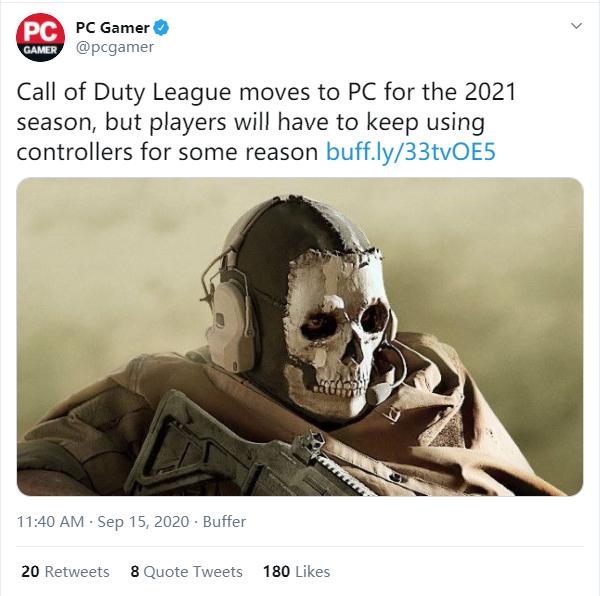 《使命召唤》联赛将转至PC平台  禁止使用键盘鼠标