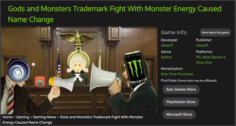 育碧《渡神纪》改名背后 与魔爪饮料公司商标纠纷