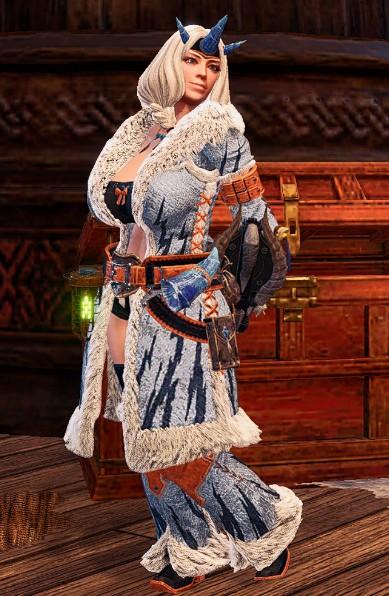 《怪物猎人:世界》黑色内衣霜雪麒麟套装MOD