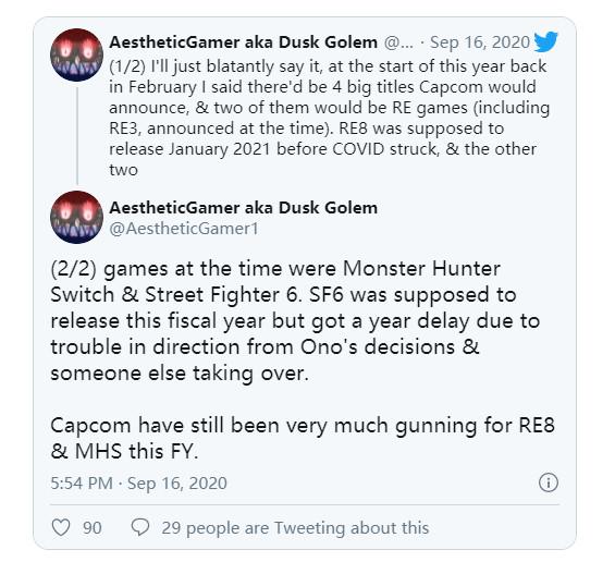 传《怪物猎人》NS版很快将公布 《街霸6》2022年发售