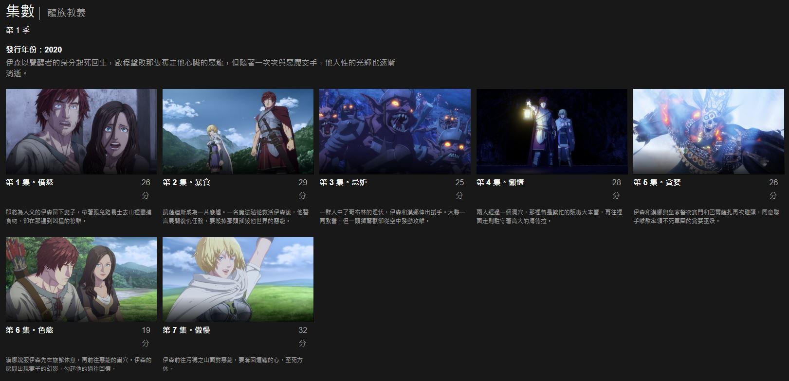 网飞《龙之信条》动画上线 共7集总时长约3小时