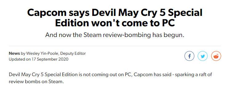 《鬼泣5》遭全民大量投差评 起因真是莫大的讽刺