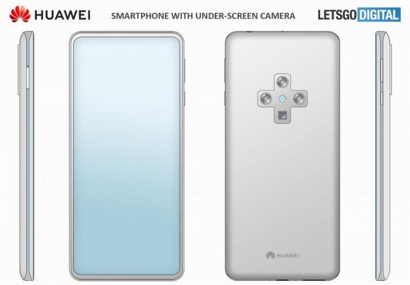 华为新手机专利图:前置屏下摄像头 背部十字型