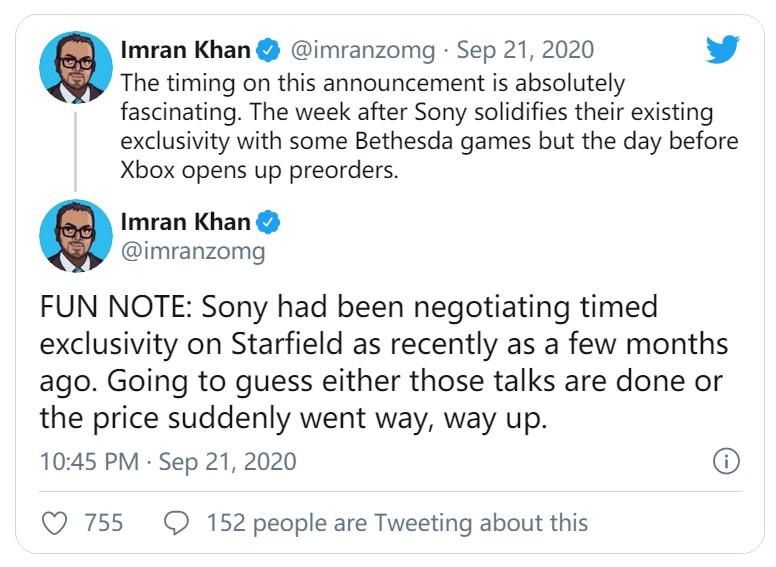 传闻:索尼此前就《星空》限时独占事宜与B社进