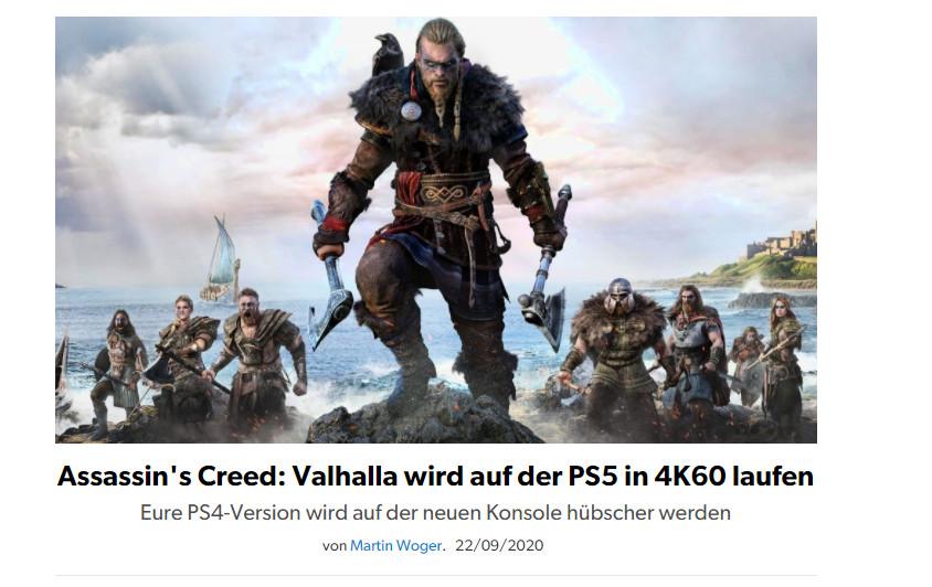 《刺客信条:英灵殿》PS5版也将是真4K/60FPS