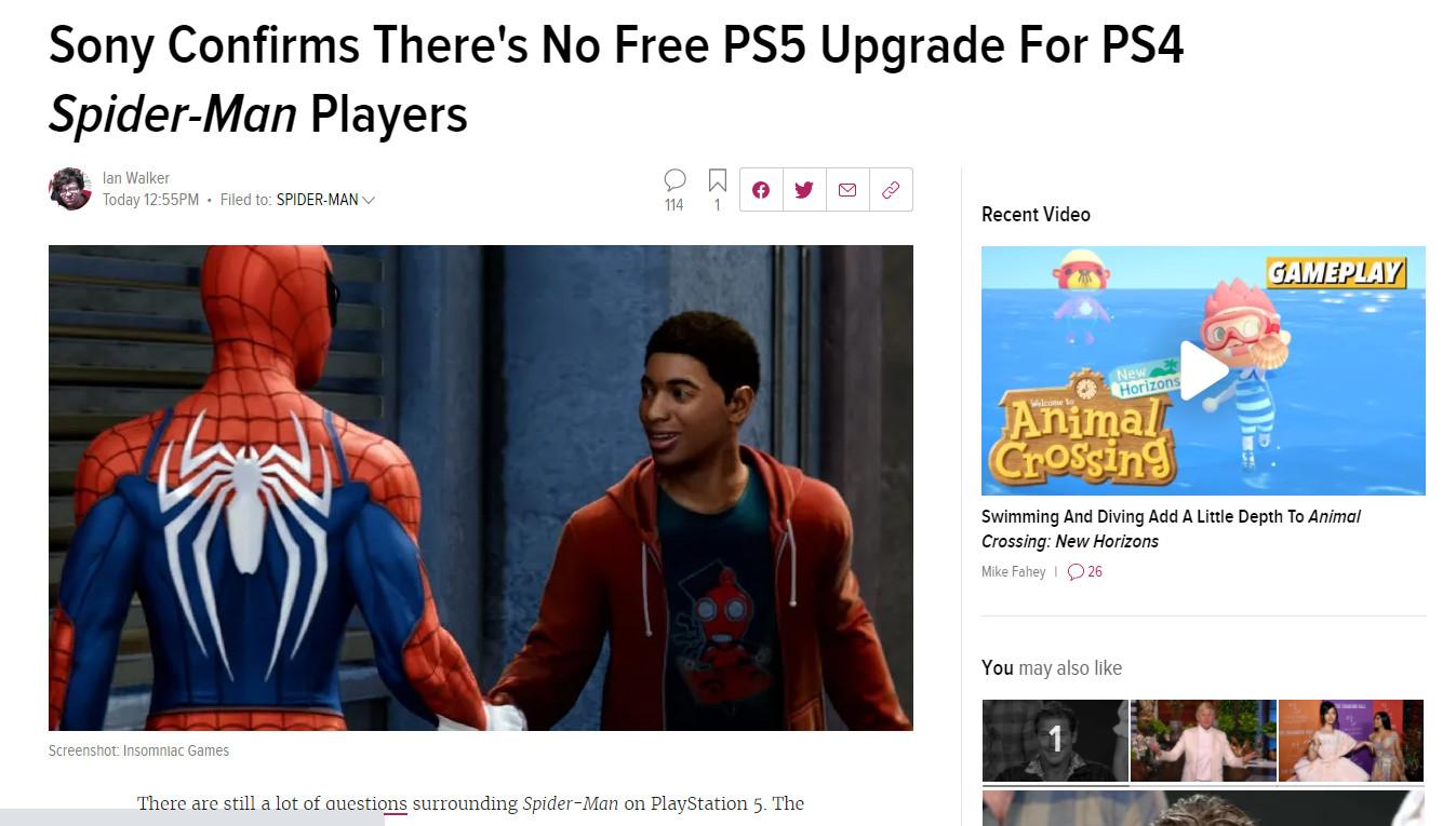 索尼确认:《漫威蜘蛛侠》PS4玩家不能免费升级到PS5版