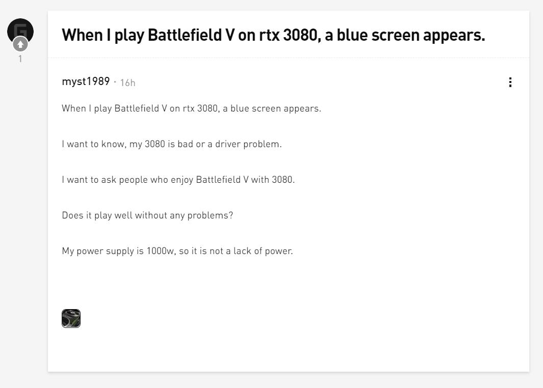 英伟达RTX 3080用户反映:玩游戏时出现崩溃和黑屏