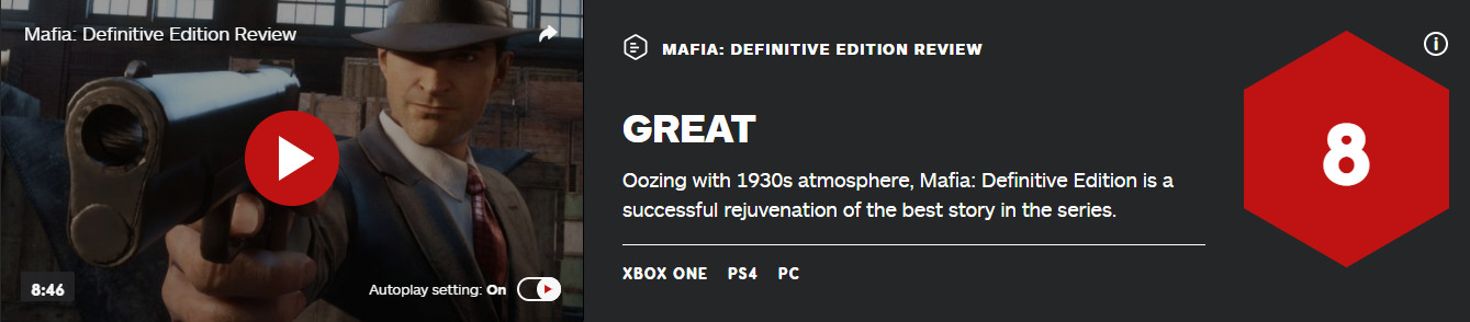 《四海兄弟:最终版》IGN 8分 GameSpot 6分